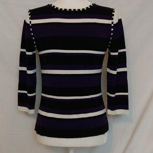 Dressbarn  3/4 Striped Sleeves Top For Women
